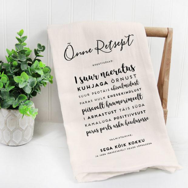 Sõnumiga köögirätik, kingitus soolaleivaks, pulmadeks