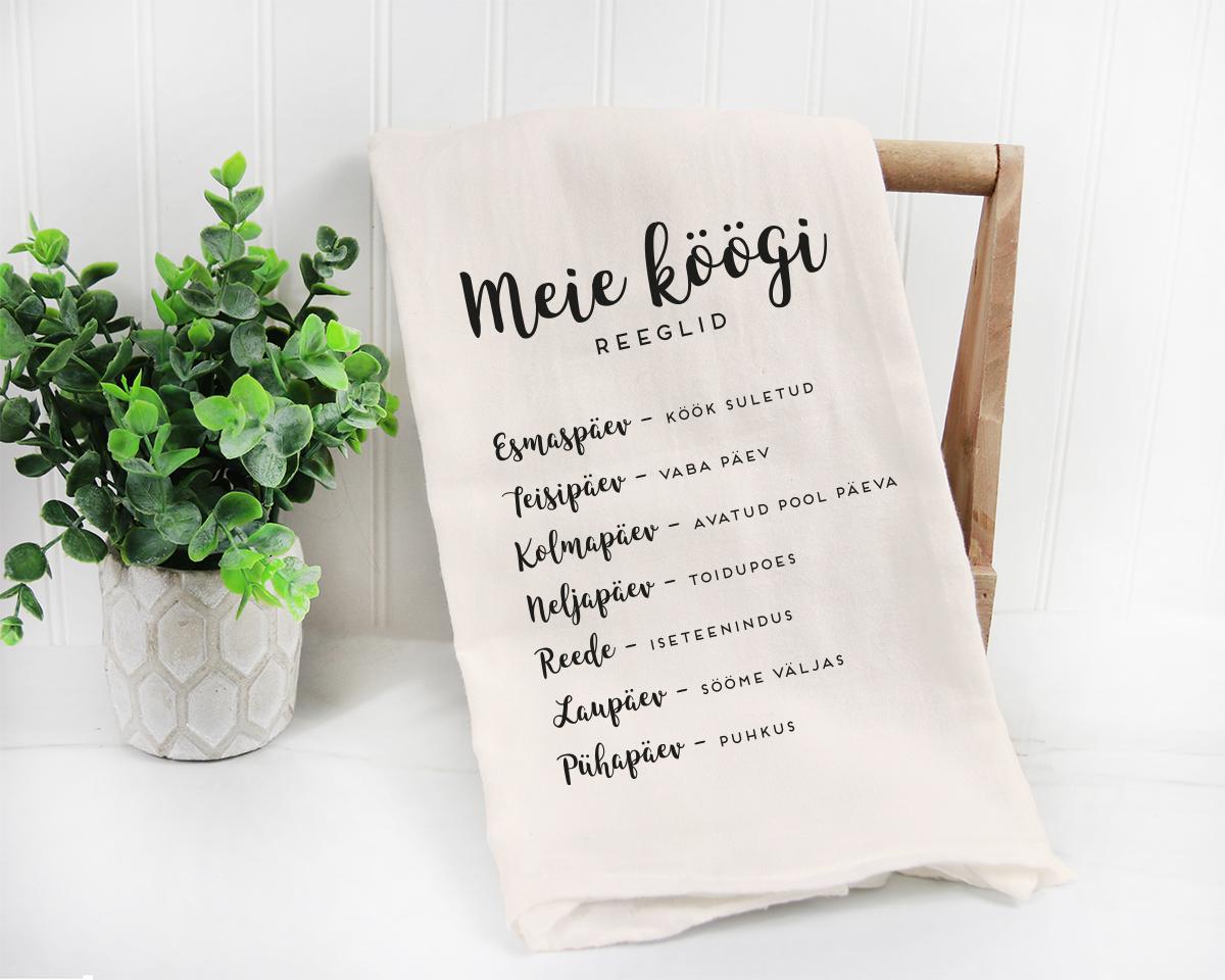 Sõnumiga köögirätik köögi reeglid, kingitus soolaleivaks